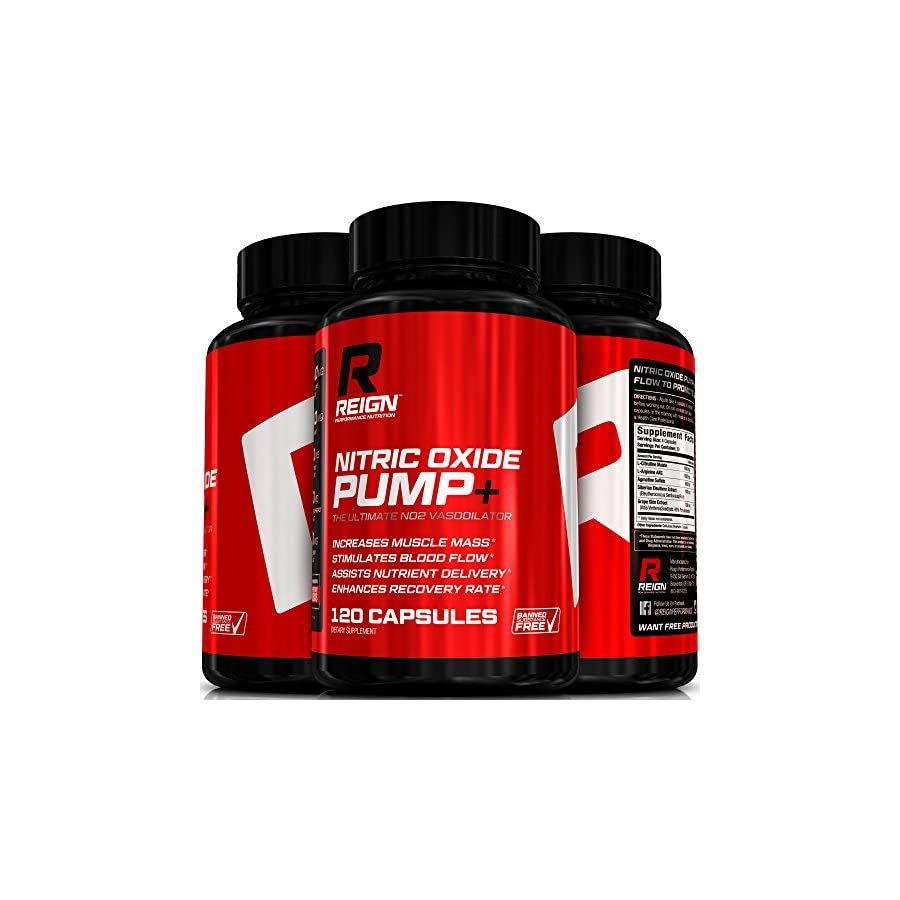 Nitric Oxide Pump+ Powerful Nitric Oxide Supplements Pre Workout with L Arginine, Citrulline Malate & Agmatine Sulfate Stimulates Blood Flow for Increased Muscle Mass 120 Vegetable Capsules