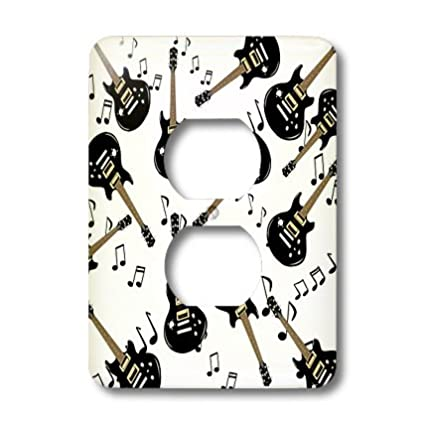 3dRose lsp/_179615/_6 Image of Rock Guitar and Notes Repeat Pattern Light Switch Cover