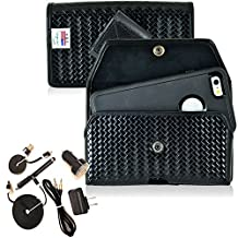 Law Enforcement Rugged Police Basketweave Genuine Leather Horizontal Duty Belt Case with Snap Closure and 6pc USB Power Kit fits LG G3 with an Otterbox Defender Case