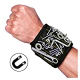Magnetic Wristband for Screws with 10 Powerful Magnets, Tool Belt for Holding Screws Nails Drill Bits Bolts and Small Metal Tools, Cool Gift for Men DIY Handyman Electricians Carpenters (Black)