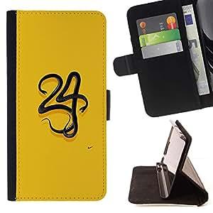 For Samsung Galaxy Note 4 IV Case , 34 Amarillo Número minimalista- la tarjeta de Crédito Slots PU Funda de cuero Monedero caso cubierta de piel