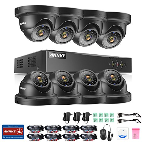 ANNKE 16 Channel DVR Video Security Camera System, 1080P lite DVR with 8pcs 960p Indoor / Outdoor CCTV Weatherproof Camera, 2TB Hard Drive included