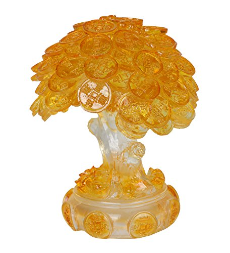 Feng Shui Translucent Golden Money Coin Prosperity Tree Home Decoration Gift (Translucent Gold)