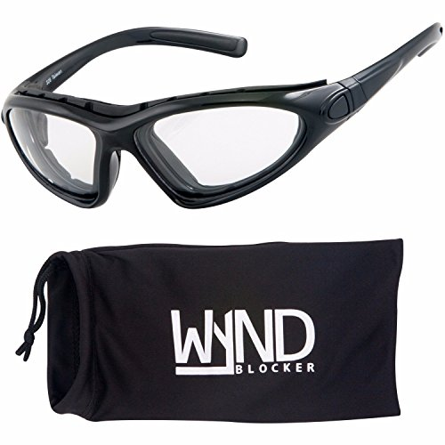 WYND Blocker Vert Motorcycle & Outdoor Sports Wrap Around Sunglasses (Black/Clear Lens)