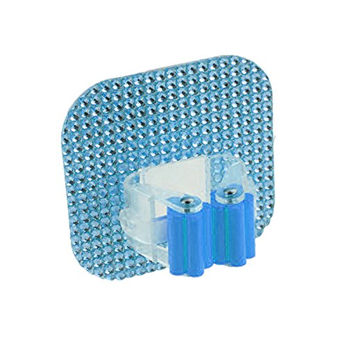 RUNGAO Crystal Square Hook Mop Holder Wall Mounted Suction Cup Rag Broom Mop Rack Blue