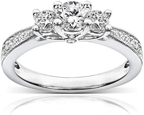 Kobelli Diamond Three-Stone Engagement Ring 1/2 carat (ctw) in 14k White Gold