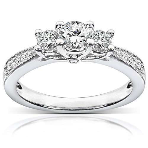 Engagement Three Stone (Diamond Three-Stone Engagement Ring 1/2 carat (ctw) in 14k White Gold, Size 7.5, White Gold)