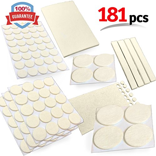 Mighty X Heavy Duty Felt Furniture Pad Protectors by iPrimio - PACK 181 Pcs, Place Under Furniture Legs, Feet, Dining Table, Couches, Vases. Protect Hardwood Floors. Protect All Surfaces. BEIGE