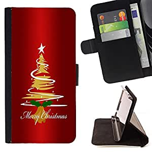 DEVIL CASE - FOR Apple Iphone 5C - Christmas Tree Star Art Drawing Lights Merry - Style PU Leather Case Wallet Flip Stand Flap Closure Cover