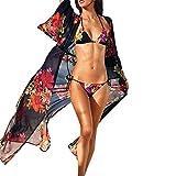 Ladies Kimono Mose Long Chiffon Shawl For Bikini Womens Bohemia Floral Tassel Long Oversized Cover Up (Size:M, Black)