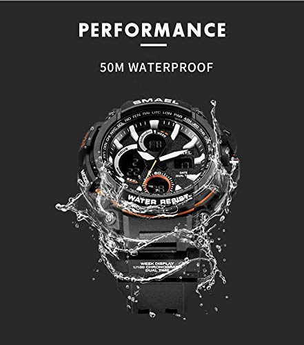 Winsummer Men's Sports Analog LED Digital Wrist Watch Dual Quartz Military Army Sport Watch Water Resistant Black by Winsummer (Image #2)