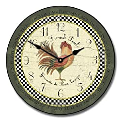 Romanic Rooster in Green Wall Clock, Available in 8 sizes, Most Sizes Ship 2 - 3 days, Whisper Quiet.