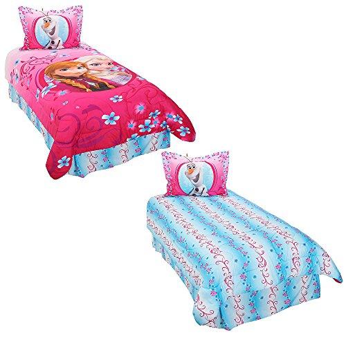 Disney Frozen Coronation Day 3 Piece Twin Comforter Set, Pink/Blue -