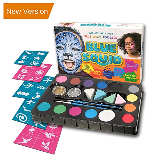 Blue Squid Face Paint Kit | 14 Color, 30 Stencils, 4 Professional Sponges, 2 Brushes, 2 Glitters | Best Quality Ultimate Party Pack for Kids | Vibrant Water Based Painting Set Non-Toxic FDA Approved - Easy Halloween Costume Ideas For School