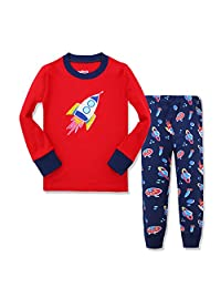 Kidsmall Little Boys Girls Long Sleeve Pajama Set 100% Cotton sleepwear 2-7 Years