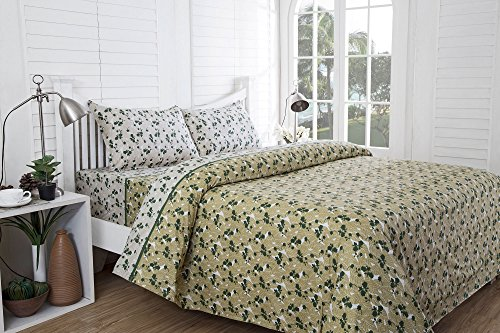 Inhouse by Maspar 52 Leaf Printed Cotton Double Bedsheet with 2 Pillow Covers – Green