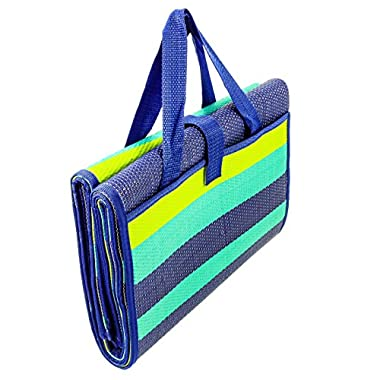 Camco 42806 Blue/Turquoise/Green 60  x 78  Striped Handy Mat with Strap