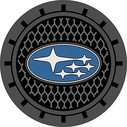 Auto sport 2.75 Inch Diameter Oval Tough Car Logo Vehicle Travel Auto Cup Holder Insert Coaster Can 2 Pcs Pack (Subaru)