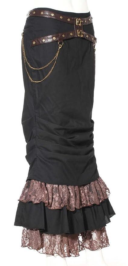 Larga Falda Negra Sirena Steampunk con Encaje marrón y Chaines ...