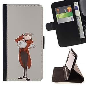 BullDog Case - FOR/HTC One M9 / - / ARISTOCRAT FURRY WHITE CAT ROYAL MAN ART /- Monedero de cuero de la PU Llevar cubierta de la caja con el ID Credit Card Slots Flip funda de cuer