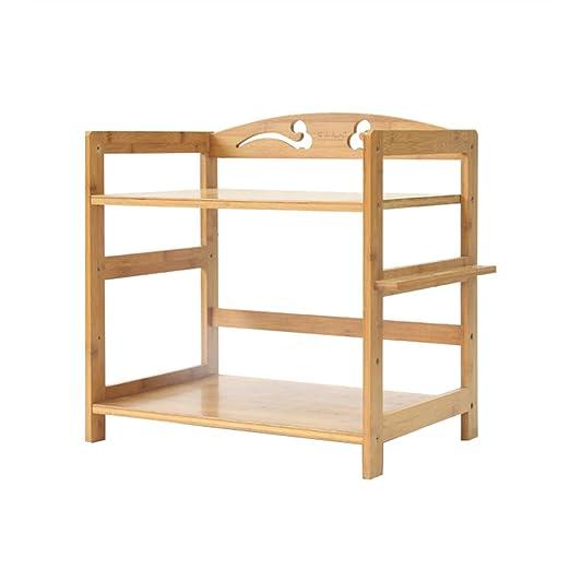Soporte de microondas de madera sólida Carrito de almacenamiento ...