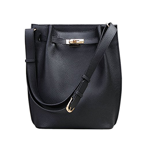 Ainifeel Women's Genuine Leather Bucket Shoulder Handbags Hobo Purse (Black) by Ainifeel