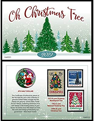 Christmas Stamps 2019.Christmas Greetings Coin And Stamp Genuine 2019 Jfk Half