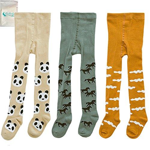 Gellwhu 3-Pack Cute Kids Girls Boys 0-3T Tights Legging Pants Warm Stockings (M (1-2 Years), 3-Pack (New Kids Socks Horse)