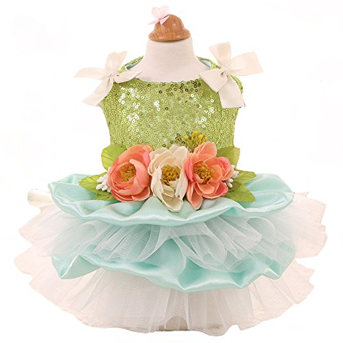 MaruPet Elegant Princess Lace Flower Fairym Dress Silky Tutu with Bowknit for Small, Extra Small DogTeddy, Pug, Chihuahua, Shih Tzu, Yorkshire Terriers Green S For Sale