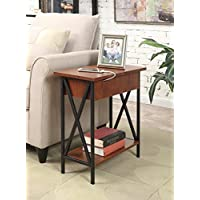 Convenience Concepts Tucson Electric Flip Top Table, Black/Cherry
