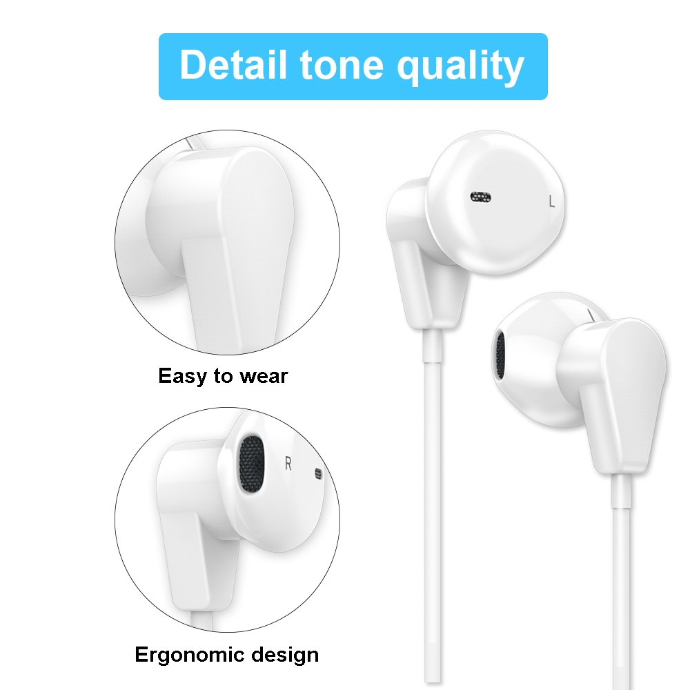 IPhone Earphones Earbuds Headphones Headset Fourcase Wired with Stereo Microphone and Volume Control for iPhone iPod Samsung Galaxy and all 3.5mm Android Smartphones 2 Pack by Fourcase (Image #5)