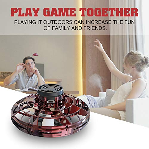 Flynova Flying Toys, Lovne Hand Operated Drones for Kids with 360° Rotating and Shinning LED Lights, UFO Drone for Kids Hand Controlled Free Flight Paths Creative Educational Toy (Red)