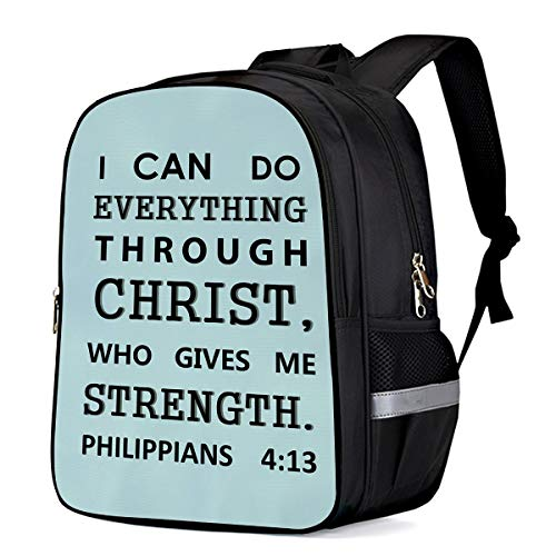 - Kids School Backpack Travel Durable Oxford Fabric Daypack, Bible Philippians Short Poem Cyan Student Schoolbag with Pockets for Boys/Girls 13 x 11 x 6in