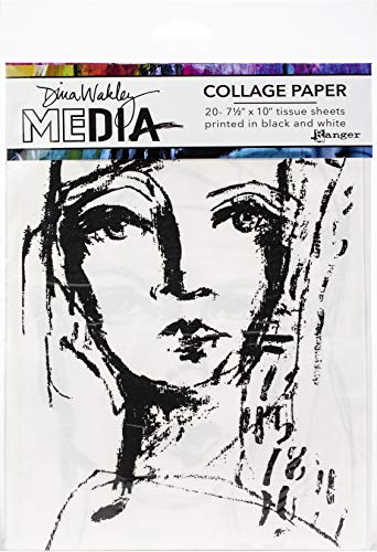 "Ranger MDA63827 Dina Wakley Media Collage Tissue Paper 7.5""X10"" 20/Pkg-Faces, Black"