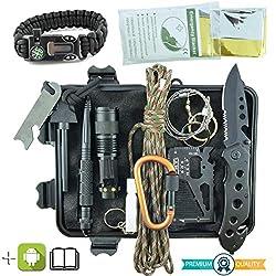 Professionelles Militär Survival Kit Komplett Dritte Generation Notfall Berg Trekking Wandern Outdoor 11in1 Taschenlampe…