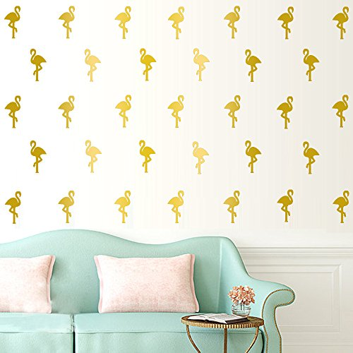 Flamingo Stickers Removable Nursery Mural Gold product image