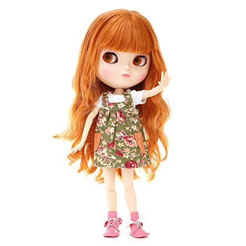 1/6 Blyth Style Factory BJD Doll,Custome-made/Free Make-up Ball Jointed Dolls,Adorable 12 inch Doll Suitable for DIY Gifts and Hobby.(orange)