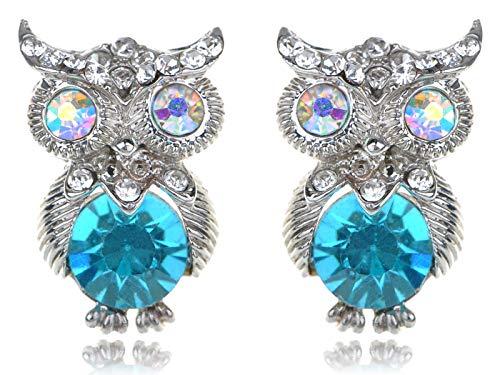 Silver Tone Aurora Borealis Crystal Rhinestone Blue Bodied Owl Stud Earrings