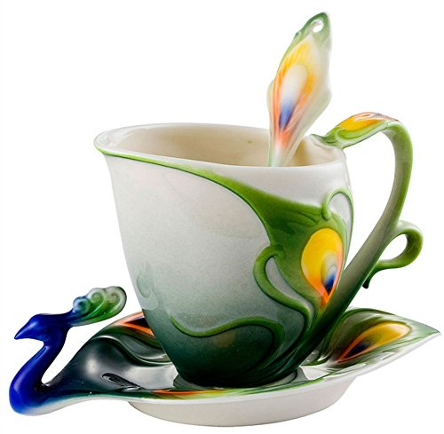 Moyishi Hand Crafted Porcelain Enamel Delicate Peacock Tea Coffee Cup Set with Saucer and Spoon Blue