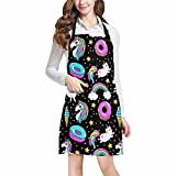 InterestPrint Funny Unicorns Donuts Cats Kittens and Rainbow Chef Aprons Professional Kitchen Chef Bib Apron with Pockets Adjustable Neck Strap, Plus Size