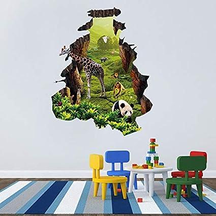 G629 Girafe Jungle Cool Animal Smashed Applique Murale 3D Art Stickers Vinyl Chambre