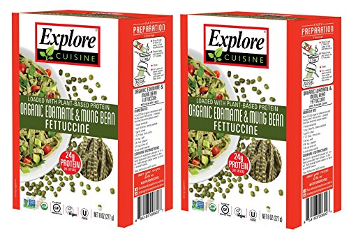 - Gluten-Free Pasta - Organic Edamame & Mung Bean Fettuccine - 8 Ounce Boxes (Pack of 2)