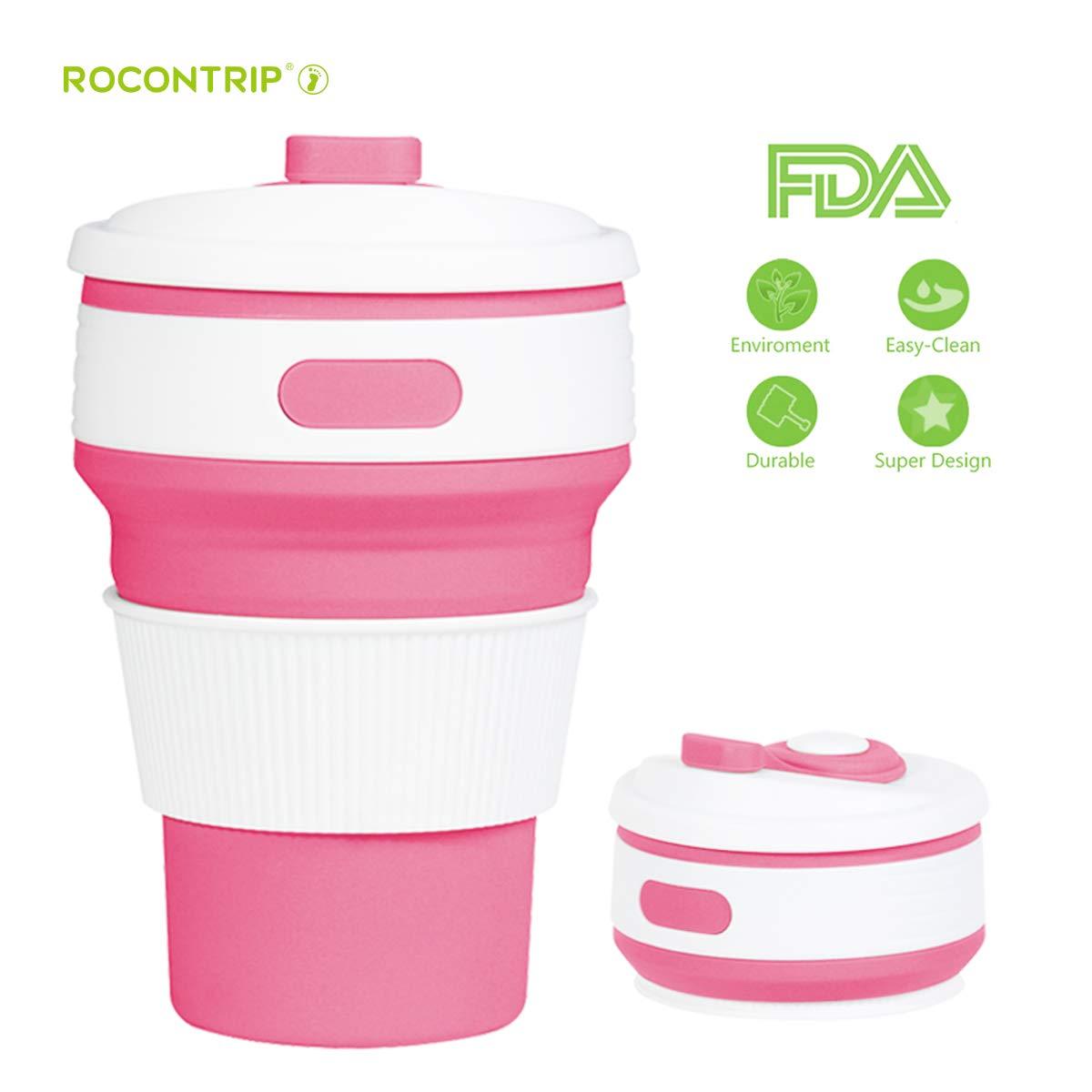 ROCONTRIP Plegable Taza, Plegado de café Taza de Viaje de Silicona a Prueba de Fugas Taza Regalo Taza 350 ML 100% de Calidad alimentaria sin BPA para ...