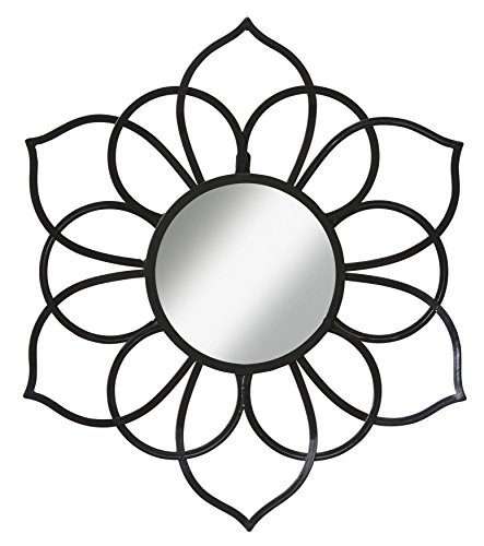 Kate and Laurel Brienne Metal Flower Round Wall Accent Mirror, Black by Kate and Laurel