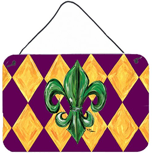 Caroline's Treasures 8133DS812 Mardi Gras Fleur de lis Purple Green and Gold Wall or Door Hanging Prints, 8x12, Multicolor