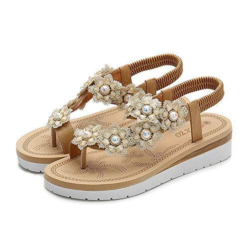 - Exclusive Shoebox Women Strap Flat Sandals Shoes - Summer Bohemian Ankle T Strap Thong Shoes Ladies Strappy Flip Flops Sandals Apricot