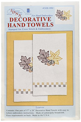"Jack Dempsey Stamped White Decorative Hand Towel, 17"" x 28"