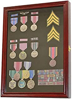 product image for flag connections Cherry Finish Display Case Wall Frame Cabinet for Military Medals, Pins, Patches, Insignia, Ribbons, Brooches.