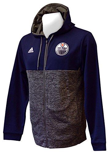 (adidas NHL Edmonton Oilers Authentic Full Zip Hood, Graphite, XX-Large)