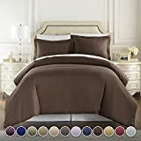 Hotel Luxury 3pc Duvet Cover Set-1500 Thread Count Egyptian Quality Ultra Silky Soft Premium Bedding Collection-King Size Brown
